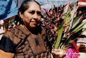 Tehuana lleva flores a su casa.